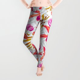 Bold & Bright Colored Tropical Flowers on Silver Trellis Leggings
