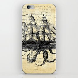 Kraken Octopus Attacking Ship Multi Collage Background iPhone Skin