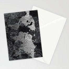world map mandala black and white 3 Stationery Cards