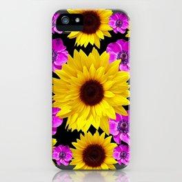 PURPLE FLOWERS & SUNFLOWERS DECO ART iPhone Case