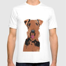 Airedale Terrier Dog Art Mens Fitted Tee White MEDIUM