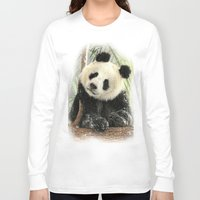 china Long Sleeve T-shirts featuring China Bear by Trudi Simmonds