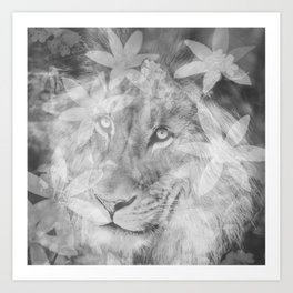 Lion in the Flowers Art Print