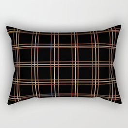ARREST multi colour lines plaid pattern on black Rectangular Pillow