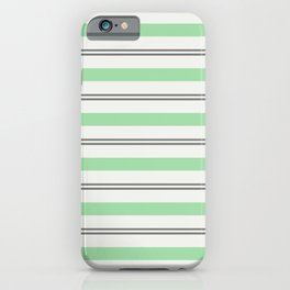 Pastel Green, Gray & Linen White Horizontal Stripes Pairs to 2020 Color of the Year Neo Mint iPhone Case