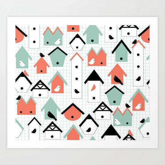 birds and houses Art Print