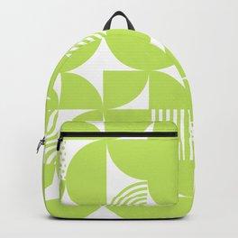 Lime Green Mid Century Bauhaus Semi Circle Pattern Backpack