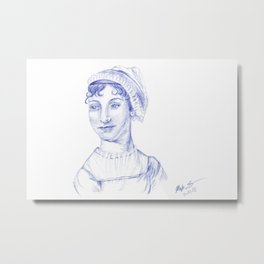 Jane Austen Portrait in Blue Bic Ink Pen Metal Print