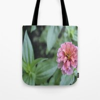 rileigh smirl Tote Bags featuring Pink Flower by Rileigh Smirl