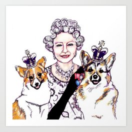 Queen - ie and her Corgis Art Print