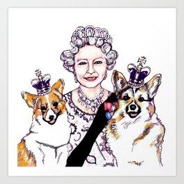 Queen - ie and her Corgis Art Print