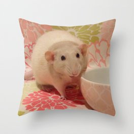 Pipes the Rat Smiling Throw Pillow