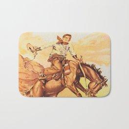 Vintage Western Cowboy On Bucking Horse Bath Mat