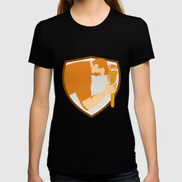 Plumber Bowing Monkey Wrench Shield Retroq T-shirt