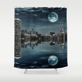 Night in the Reflection Shower Curtain