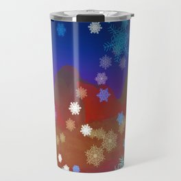 Mountains and Snowflakes Travel Mug