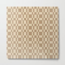 Retro 1950's Stitch Fabric Pattern Tan Metal Print