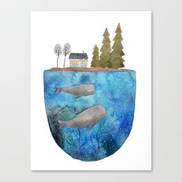 Whales are watching you Canvas Print