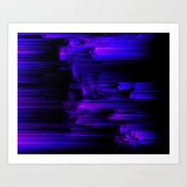 Ultraviolet Light Speed - Abstract Glitch Pixel Art Art Print