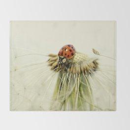 Dandelion Ladybugs Throw Blanket