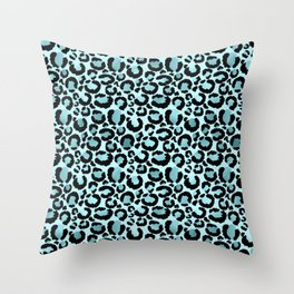 Light Blue Leopard Print  Throw Pillow