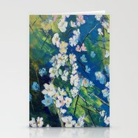cherry blossoms Stationery Cards featuring Cherry Blossoms by Michael Creese