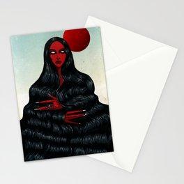 Long Black Hair. Stationery Cards