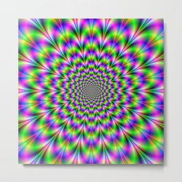 Neon Rosette in Pink Green and Blue Metal Print
