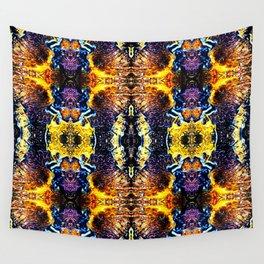 Mystic Yellow Blue Ornament Pattern Wall Tapestry