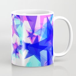 Large frosty blue stars on a light background in the projection. Coffee Mug