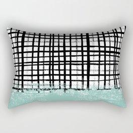 Mila - handpainted grid lines crosshatch weave with mint sage stripe minimalist nursery Rectangular Pillow