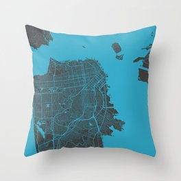 San Francisco map blue 70s Throw Pillow