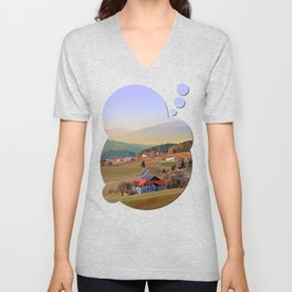 Country road in amazing panorama | landscape photography Unisex V-Neck