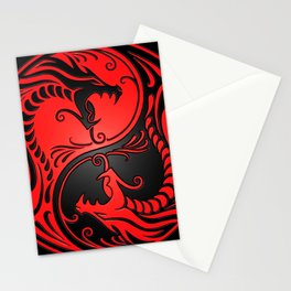 Yin Yang Dragons Red and Black Stationery Cards