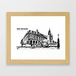 French Quarter Silhouette Framed Art Print