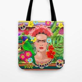 Frida Kahlo Floral Exotic Portrait Tote Bag