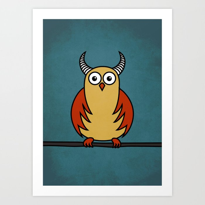 Funny Cartoon Horned Owl Art Print
