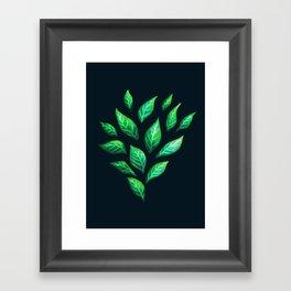 Dark Abstract Green Leaves Framed Art Print