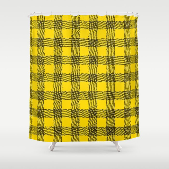 yellow and black gingham Shower Curtain by staceywalkeroldham | Society6