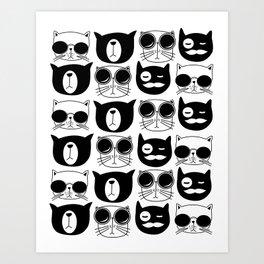 Hipster Cats Art Print