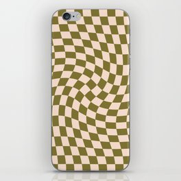 Check VI - Green Twist — Checkerboard Print iPhone Skin