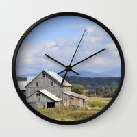 vermont Wall Clocks featuring Vermont Barn by Ashley Callan