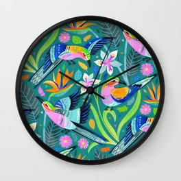 Lively Lilac Breasted Rollers Wall Clock