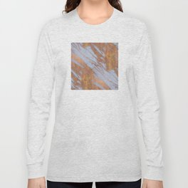 Living Coral and Rose Gold Marble Pattern Long Sleeve T-shirt