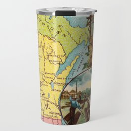 Vintage Map of Wisconsin with Illustrations (1890) Travel Mug