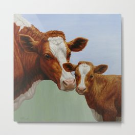 Guernsey Cow and Cute Calf Metal Print