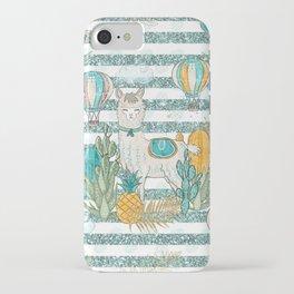 Cute Llama & Succulent Teal Glitter Stripe Pattern iPhone Case