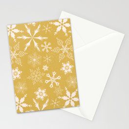 Snowflake Collection-Snowflake pattern on Mustard Yellow Stationery Cards