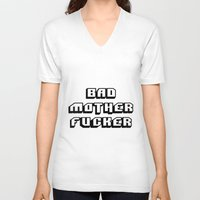 wallet V-neck T-shirts featuring Pulp fiction Bad mother fucker by Komrod