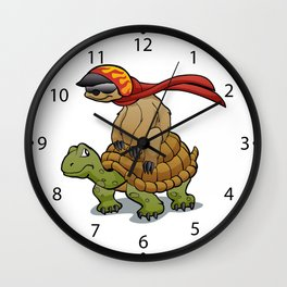 sloth riding a turtle Wall Clock